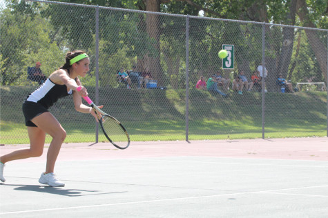 Girls' tennis team plays at home