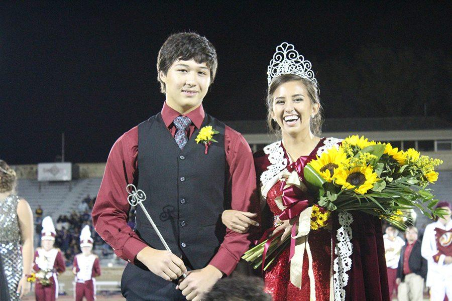 Callis and senior Marie Reveles at the Homecoming crowning ceremony.