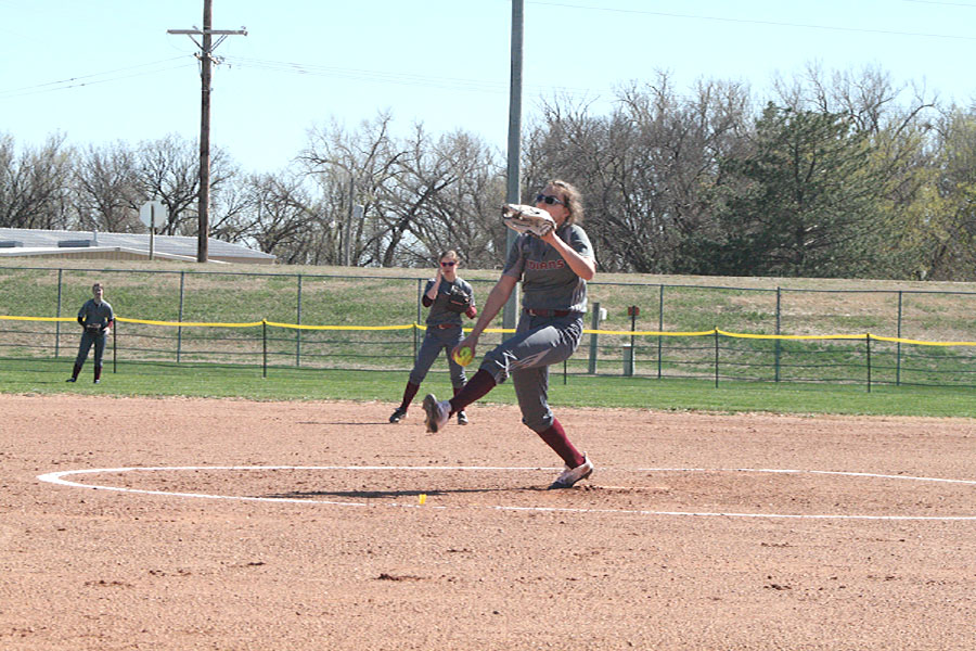 Sophomore Jaysa Wichers pitches in a game against Dodge City on April 6.