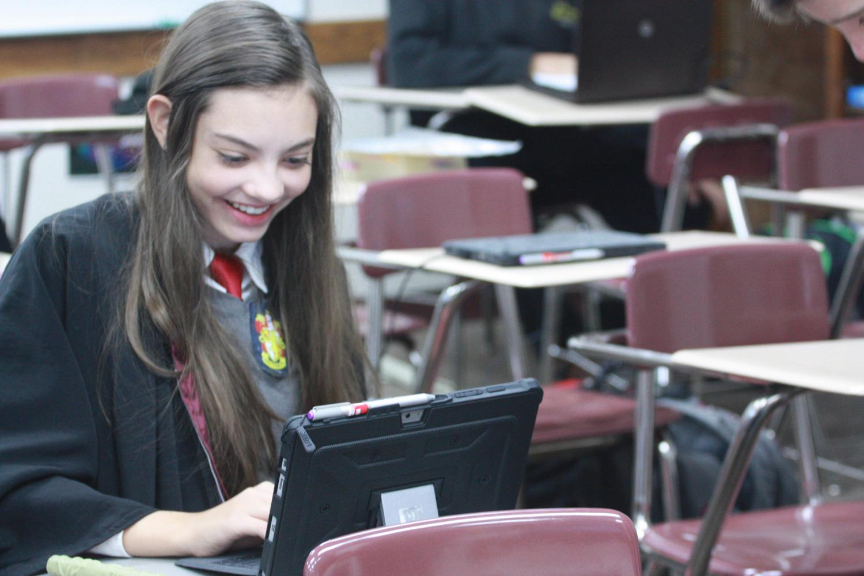 Freshman Alicia  Feyerherm participates in Harry Potter world Wednesday
