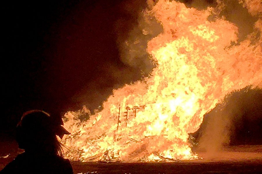 Students attended the bonfire on Oct. 12 as a part of the annual Homecoming festivities.