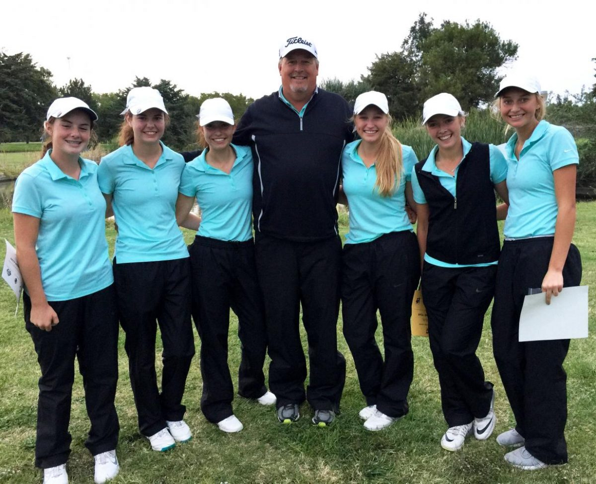 The+Lady+Indian+golf+team+won+the+WAC+title+in+the+Great+Bend+Invitational+on+Oct.+3.+Pictured+left+to+right%3A+freshman+Sophia+Garrison%2C+junior+Emily+McGuire%2C+junior+Molly+Eikenberry%2C+Coach+Mark+Watts%2C+junior+Brittani+Park%2C+senior+Karee+Dinkel%2C+junior+Emily+George