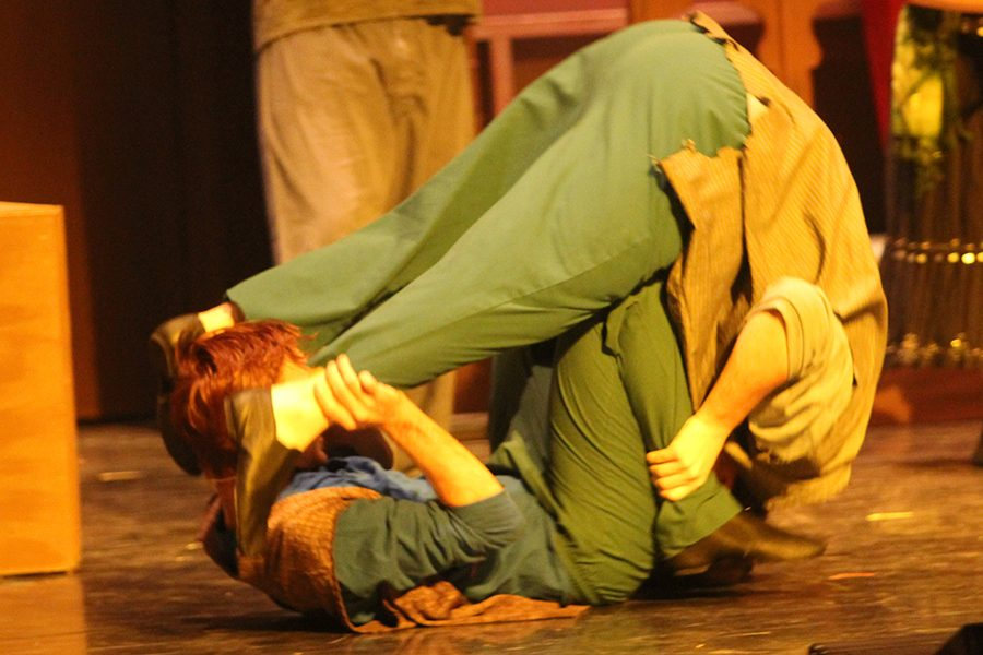 Two gypsies (seniors Adam Klausmeyer and Tanner Eiland) perform a