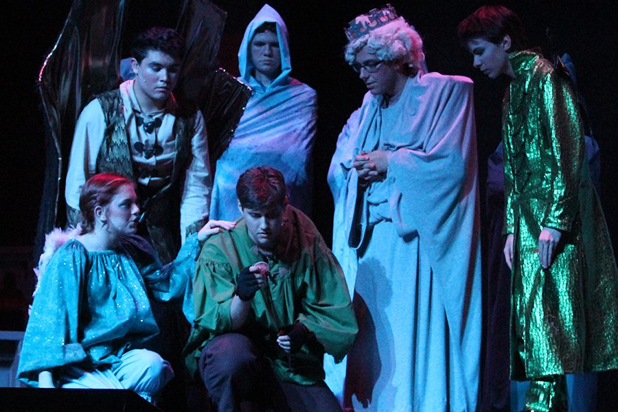 Quasimodo (senior Ryan Will) talks to the statue of Saint Aphrodisius (senior Dusty Schneider) who, along with the three gargoyles Laverne, Victor, and Hugo (seniors Sarah Wyse, Michael Hernandez, and Dawson Rooney) guide him on what to do. They help him figure out the puzzle Esmeralda (senior Erin Murihead) left him. They also convince him to go after her and help her (