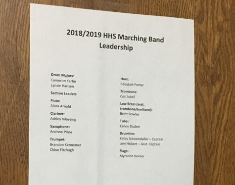 Marching band leadership for the 2018-2019 school year announced