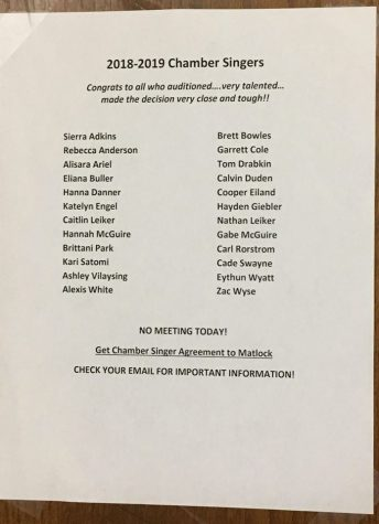 Chamber Singers announced for 2018-2019 school year