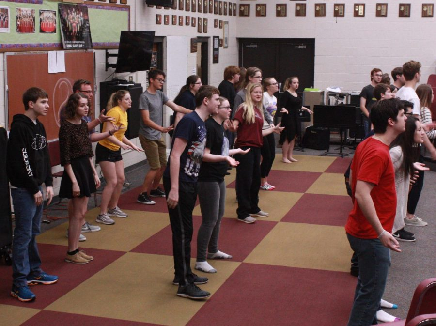 Chamber Singers rehearse before school and during class to perfect their songs. During the week of the show they also rehearse during seminar and after school.