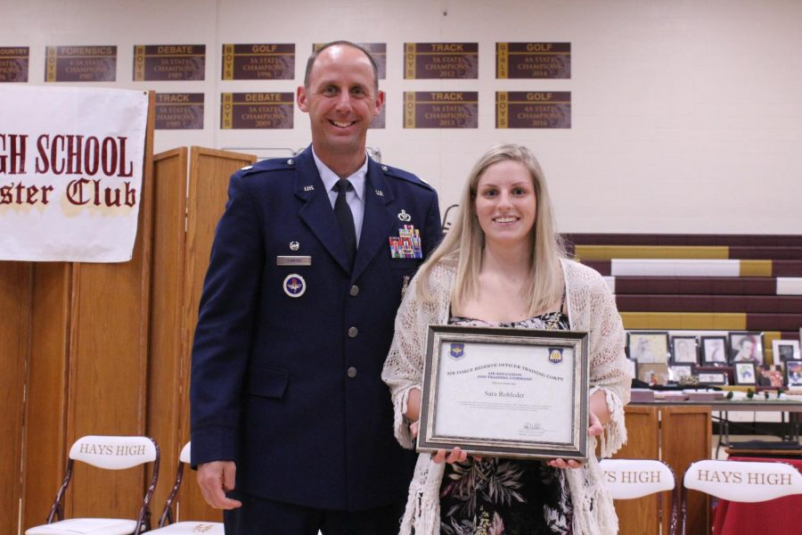 Senior Sara Rohleder was selected for the Air Force ROTC Scholarship. One senior is chosen each year, and the scholarship pays 100% of tuition and fees at an in-state school, while also paying a monthly stipend of $300-500 a month and a $600 per year book allowance.