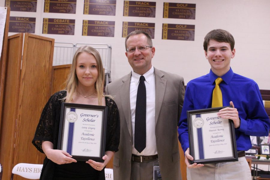 Seniors Lacey Gregory and Dawson Rooney received the Governor's Scholar Award. The scholarship recognizes one-percent of high school graduates. Recognition is based on academic excellence, citizenship, contribution to one's school and community and ACT score.