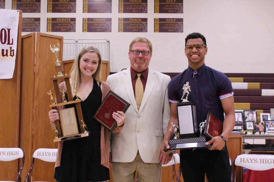 Seniors Karee Dinkel and Ethan Nunnery received Outstanding Athlete Awards. The Jack Roberts Outstanding Female Athlete Award is given to one outstanding female athlete. The Swim Carpenter Smith Memorial Award is given to one outstanding male athlete.