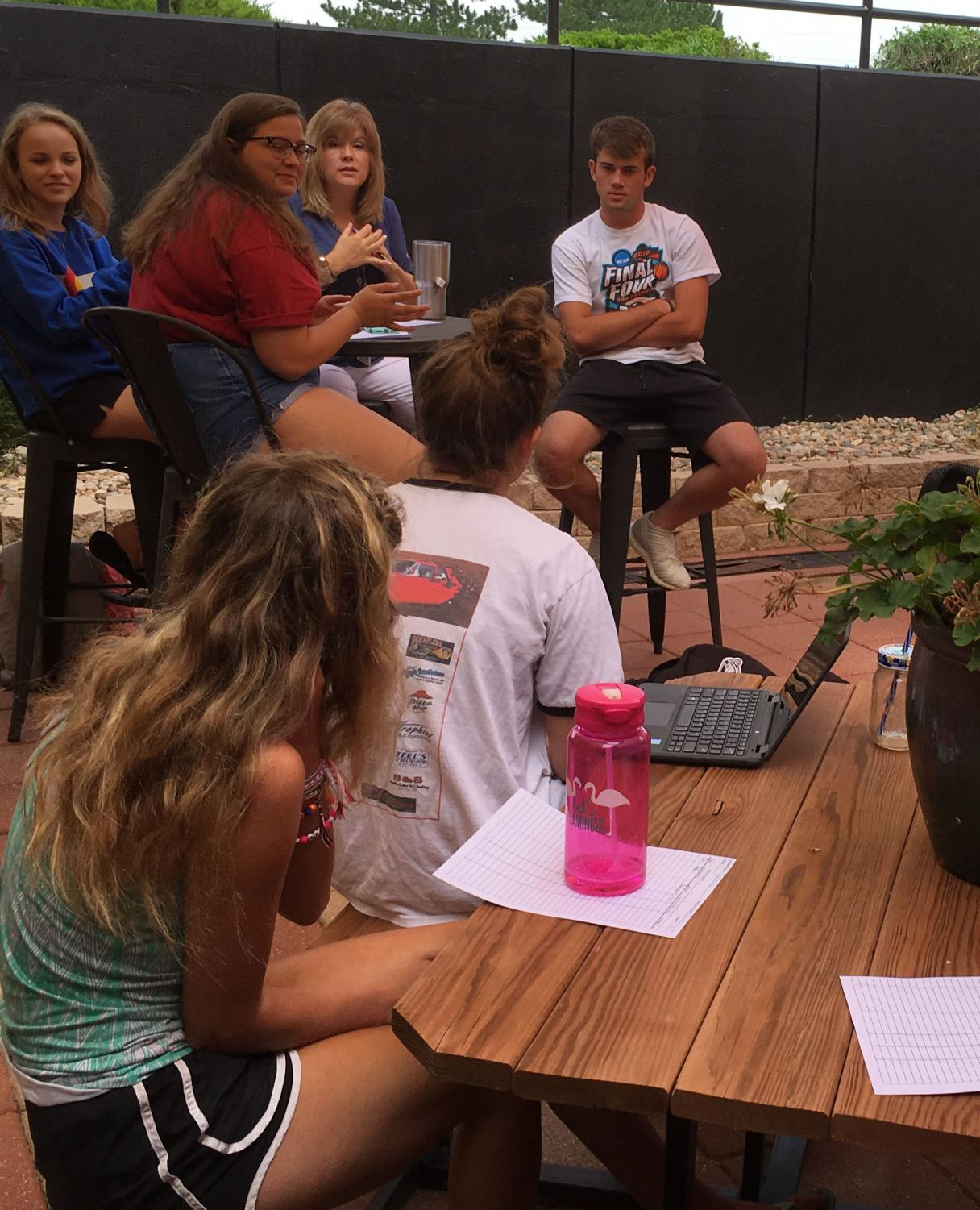During the StuCo meeting on Aug. 21, officers discussed the Back-to-School Bash and Homecoming committees. Leading the meeting was President Peyton Thorell, senior, and Vice President Shyann Schumacher, senior.