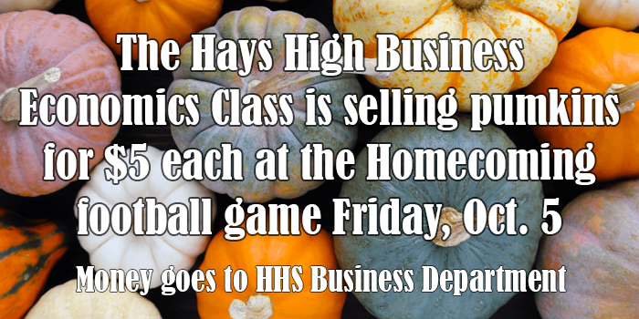 The Business Economics class has ben selling pumpkins and will continue to sell them at the homecoming football game.