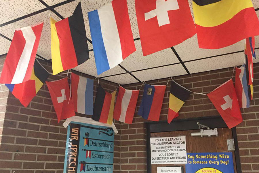 The foreign language classrooms are easy to spot in the halls as they have the flags of their countries outside the room.