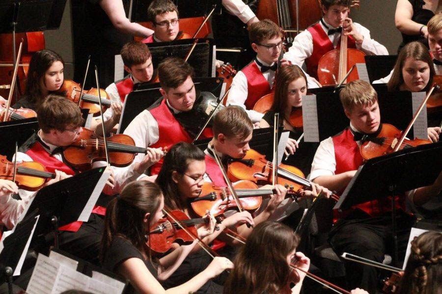 The Hays High Orchestra playing at one of their concerts last year.