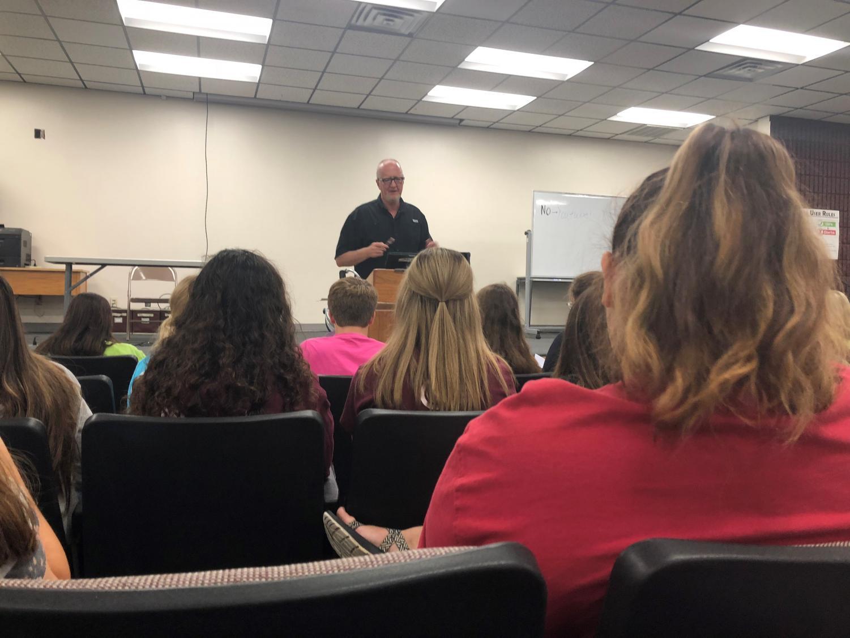 Spirit Club instructor Rick Keltner speaks at the first Spirit Club meeting.