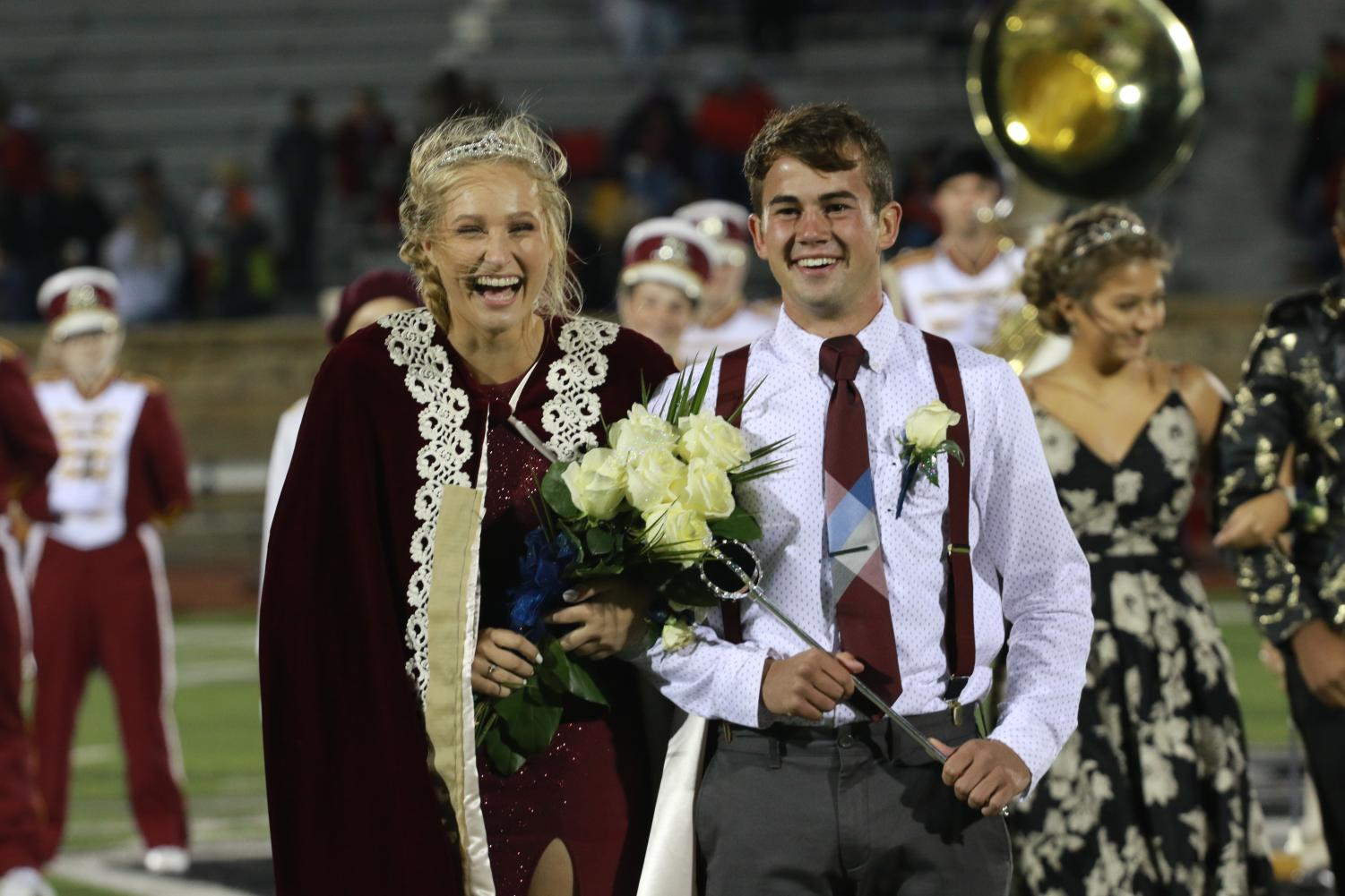 Seniors Brittani Park and Peyton Thorell are crowned as the homecoming king and queen.