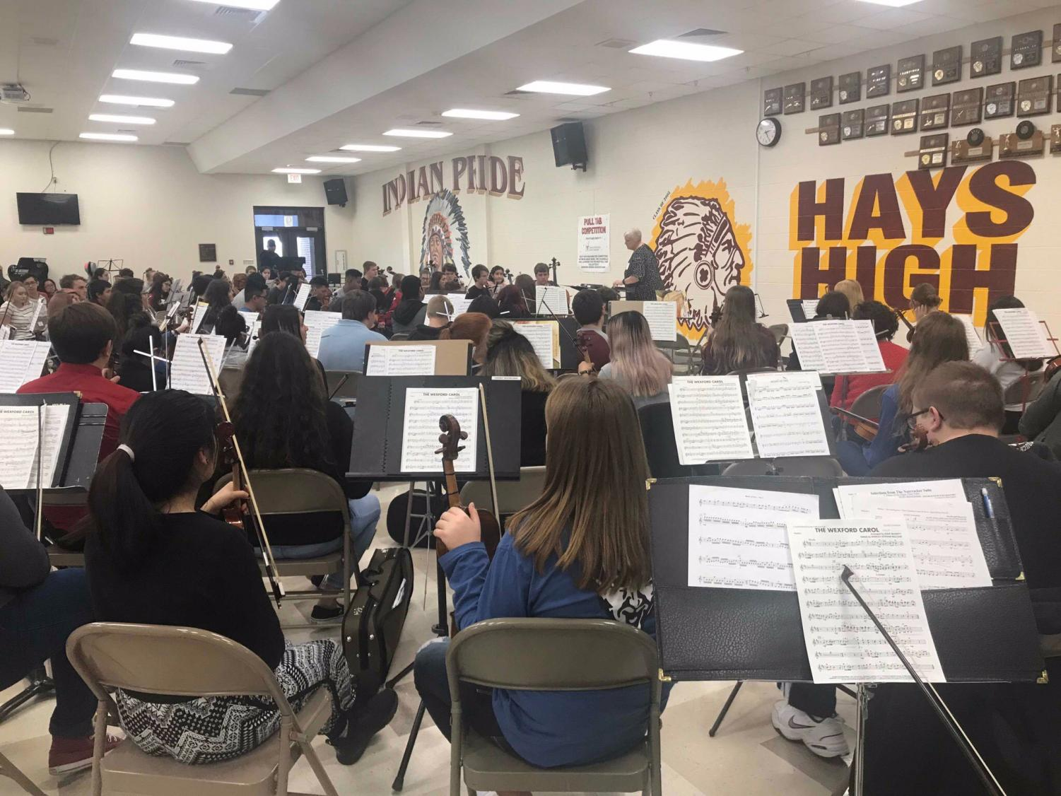 High school orchestra A during their first day of practice.