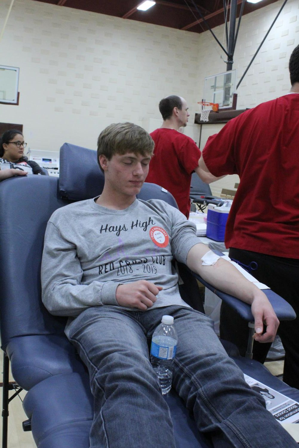 Senior James VonLintel gets his blood drawn.