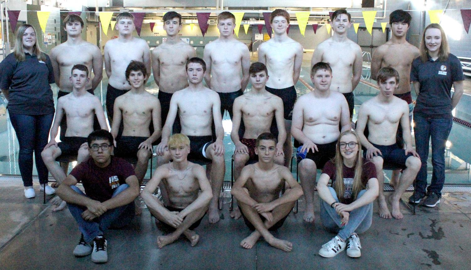 The 2018 - 19 boys swim team.