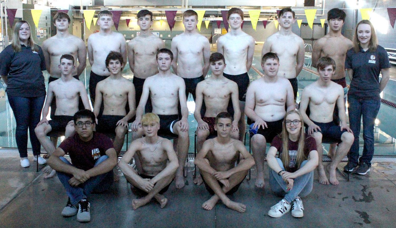 The 2018 - 19 boys swim team.