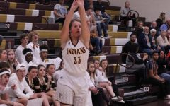 Junior Brooke Denning shoots a basketball during a Hays City Shootout game against Great Bend. The Lady Indians beat the Panthers 64-41 at away game on Jan. 8.