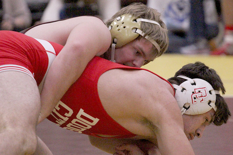 Freshman Dalton Dale controlling his Dodge City opponent at home.  He will be wrestling on Jan. 18-19 for the Bob Kuhn Prairie Classic at home with his team.