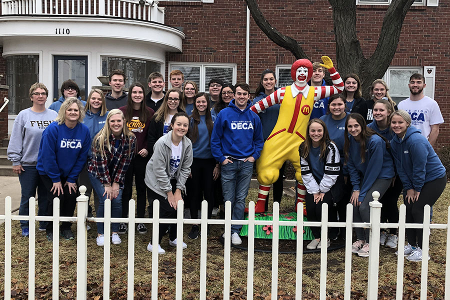 Twenty-three DECA members and three sponsors traveled to Wichita to help in the Ronald McDonald Houses on Jan. 16. The volunteers completed chores, emptied pull tabs and organized donations collected throughout December.