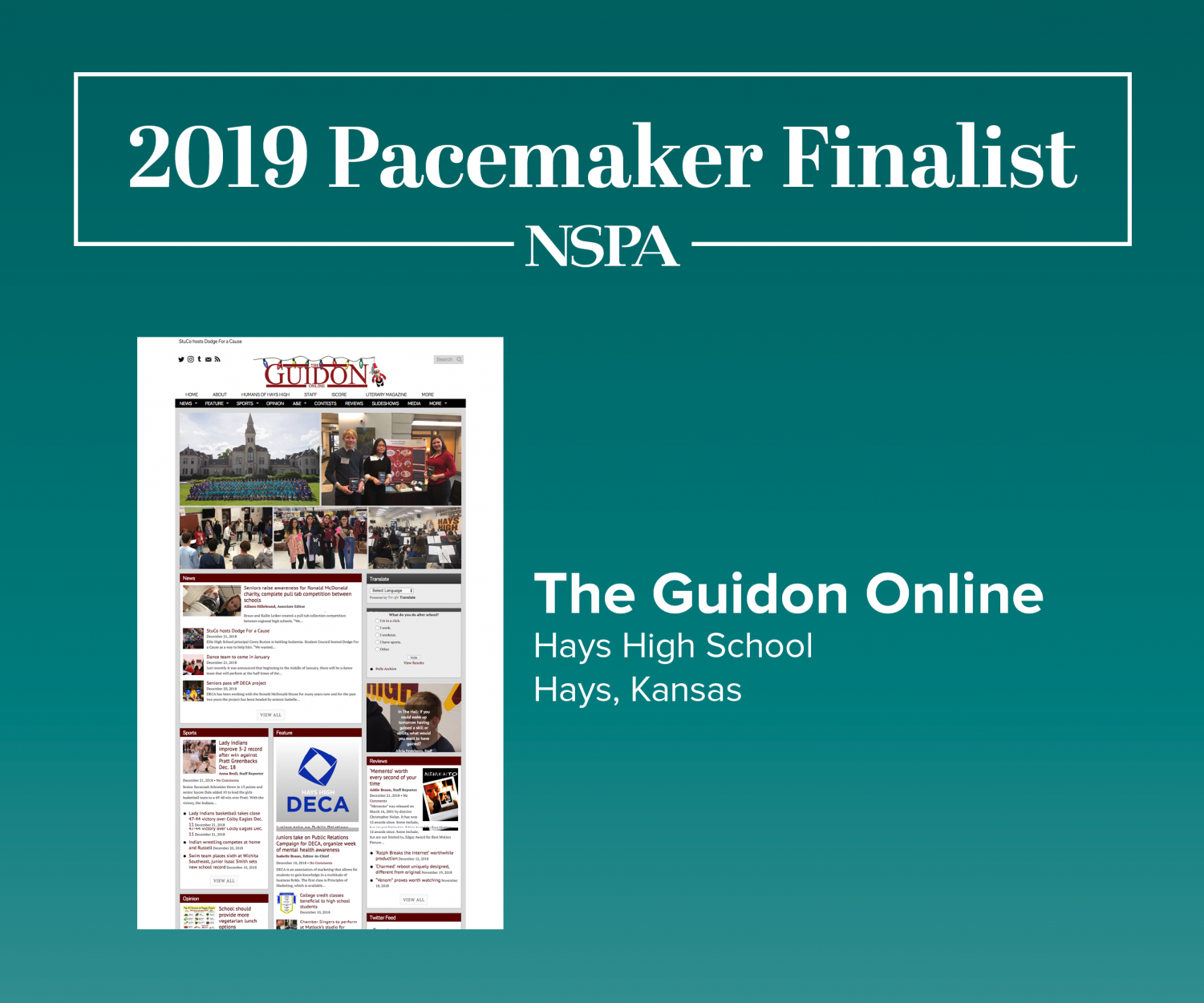 The Guidon new site has been recognized as a 2019 Pacemaker Finalist for their excellence in journalism. Pacemaker winners will be announced April 27.