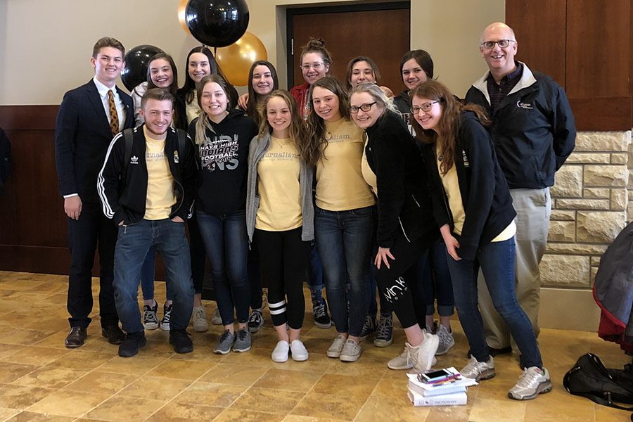 Fourteen journalism students competed at Kansas Scholastic Press Association Regionals at Fort Hays State University on Feb. 25. Sophomore Levi Weilert  is missing from the photo above.
