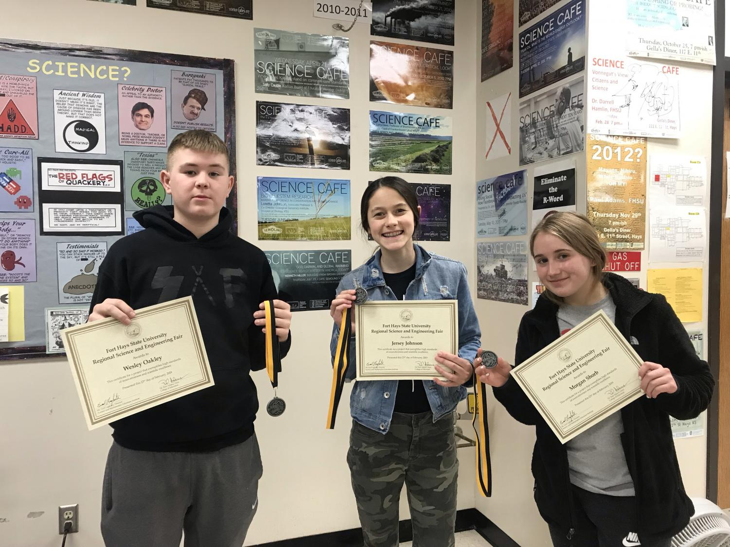 Students awarded received a medal and certificate. Science fair awards were announced on Feb 28.