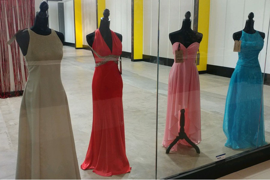 These were four dresses that were offered at Project Prom . There were various other clothing options offered that were donated by people.