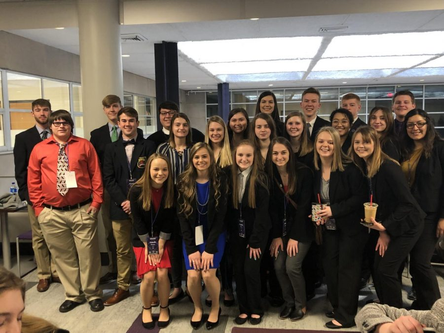 DECA students after they competed at state competition in Manhattan.