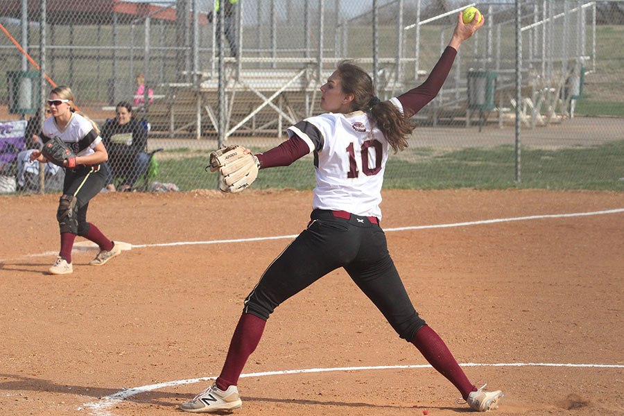 Senior Jaysa Wichers pitching against Garden City on April 2. Wichers also pitched a total 14 innings on against Dodge City.