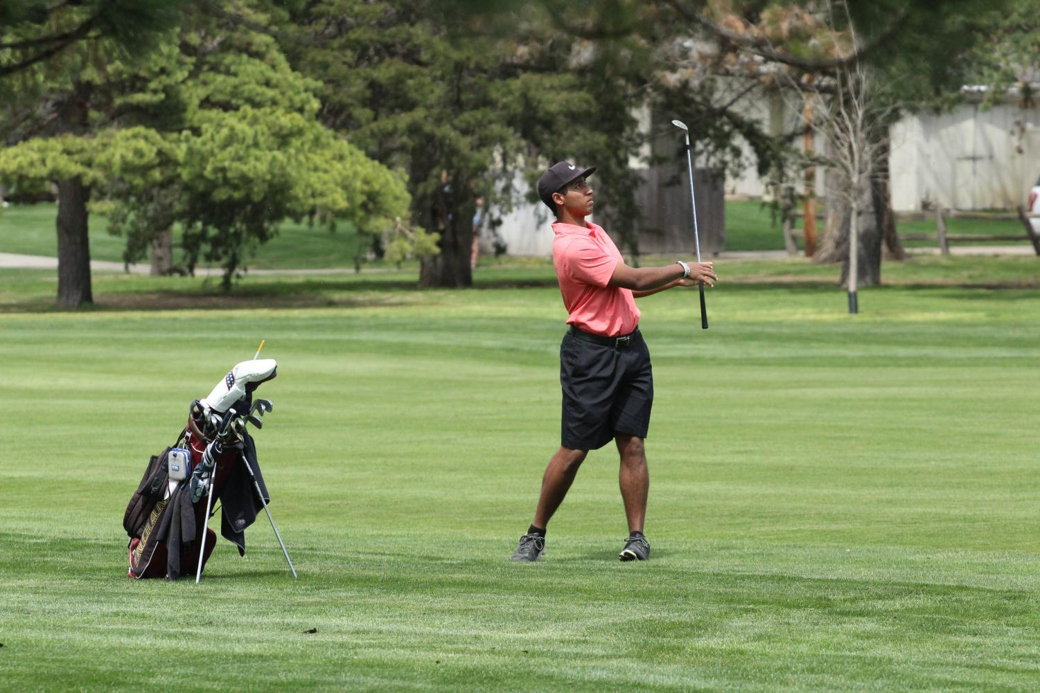 Senior Tradgon McCrae golfs at a previous home tournament. McCrae recently took third at the 5A State Golf Tournament in Dodge City on May 22.