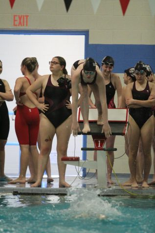 Megan Flavin competes in third state swim meet on May 17