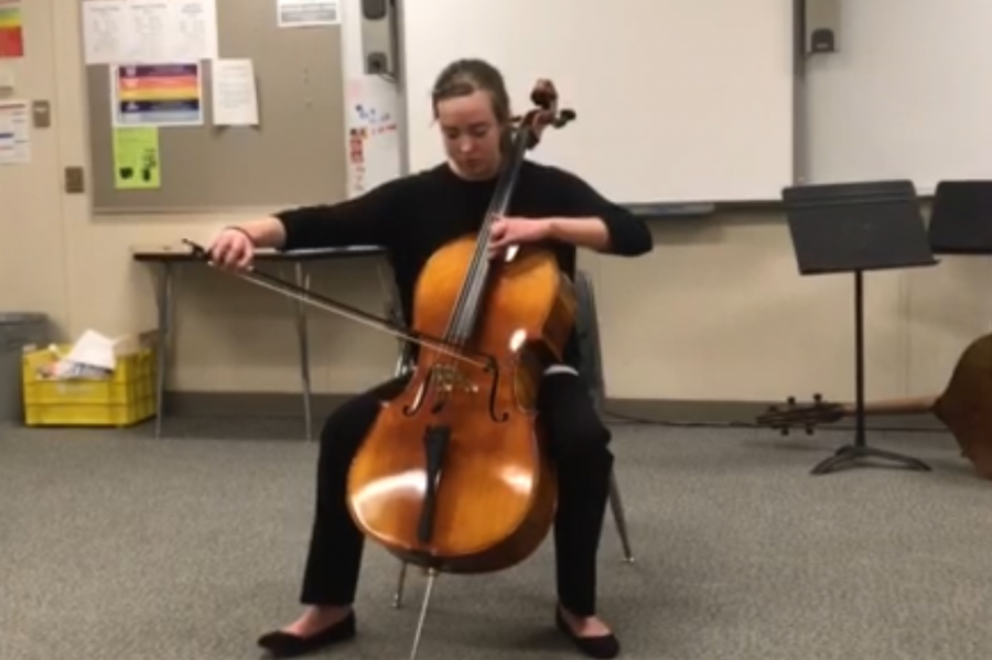 Sidney+Wittkorn+performs+her+cello+solo+at+State+contest+at+Emporia+High+School.