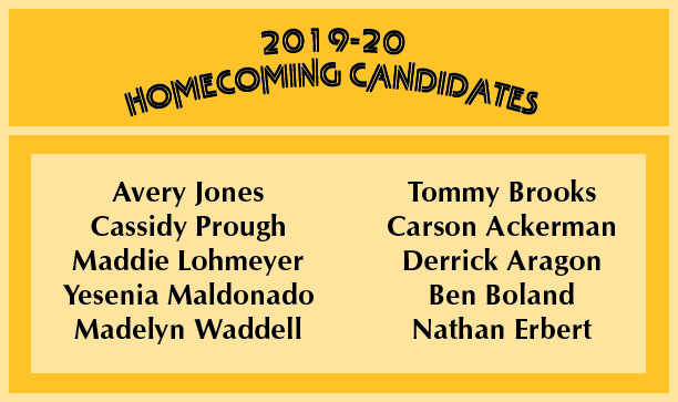 The 2019 Homecoming Candidates, the winners will be named on Sept. 27.