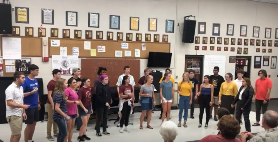 Chamber Singers give their debut performance of Thunder by Imagine Dragons at Indian Pride Night on Aug. 26.