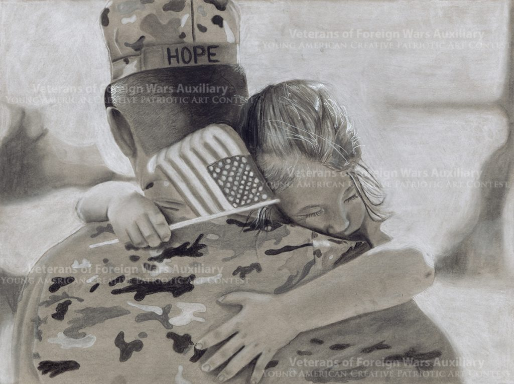 """The charcoal drawing """"Coming Home"""" by junior Silver Abbott from Elberta, Alabama represents the everyday motivation for American soldiers. The name Hope represents the hope that we hold onto, that our families will return home to us. Abbot's work won last year's $15,000 scholarship for 1st place."""