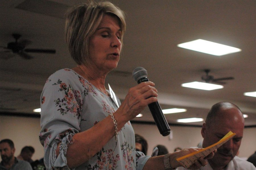 Representative Barbara Wasinger reads her tables community improvement suggestions during the Strategic Doing on Sept. 9.