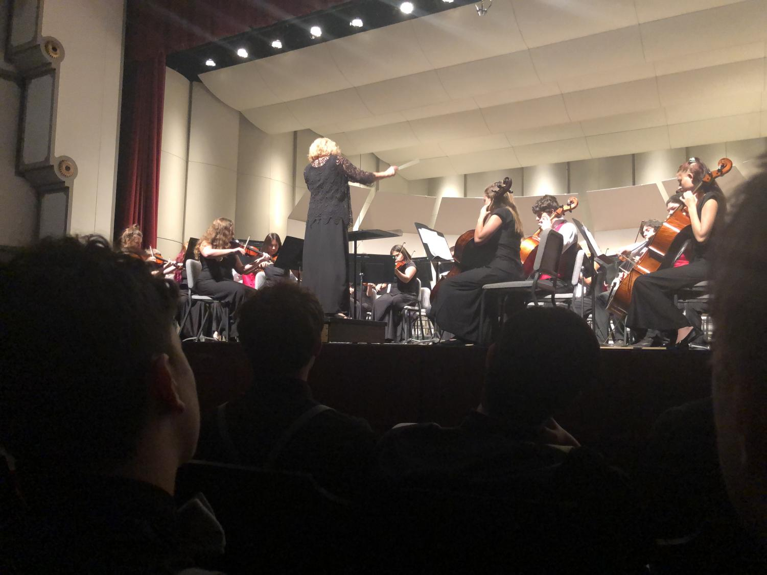 Orchestra director Joan Crull conducts the Concert Orchestra. Along with Concert Orchestra, Chamber Orchestra, Chorale, Chamber Singers, and Concert Choir performed at 7 p.m. on Oct. 8 at Beach/Schmidt Performing Arts Center.