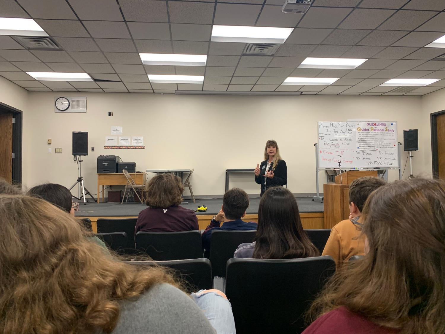The director of International Student Services at Fort Hays State University, Carol Solko-Ollif, spoke to students in the Lecture Hall during PRIDE Time on Oct. 2 as a career speaker.