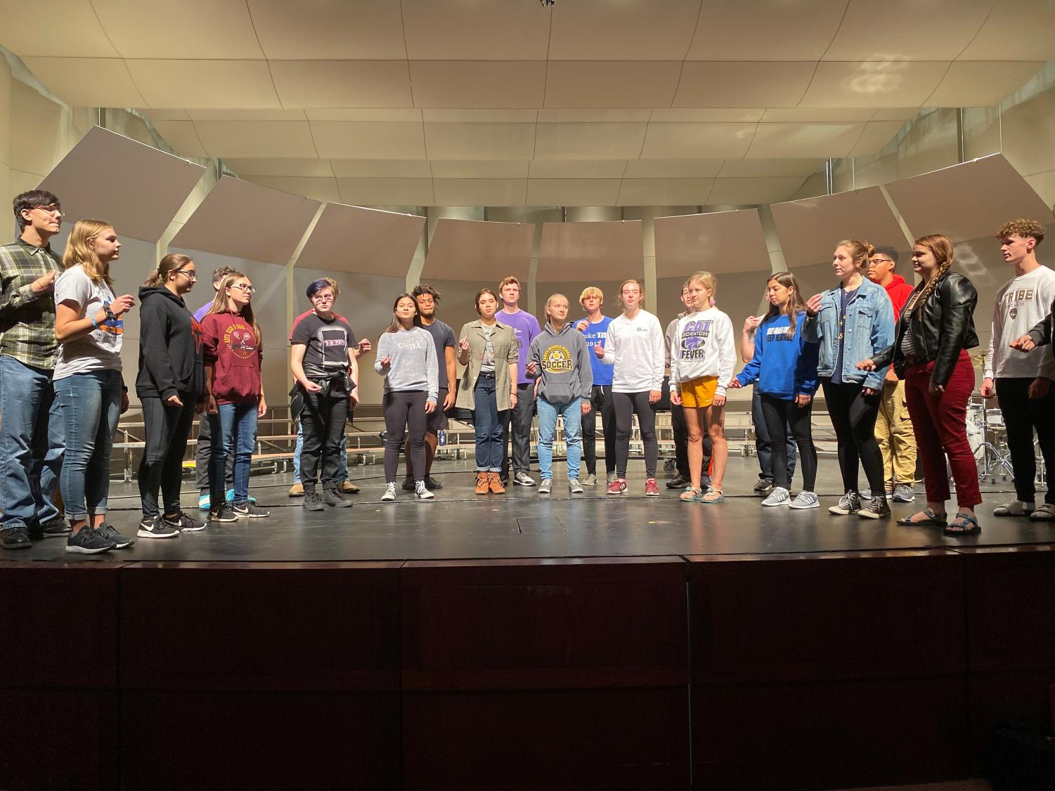 Chamber Singers practice a piece for their upcoming benefit concert they will be hosting. The concert is scheduled on Oct. 8 at 7 p.m. at the Beach Schmidt Performing Arts Center. They are donating all proceeds to the All Hands and Hearts organization.
