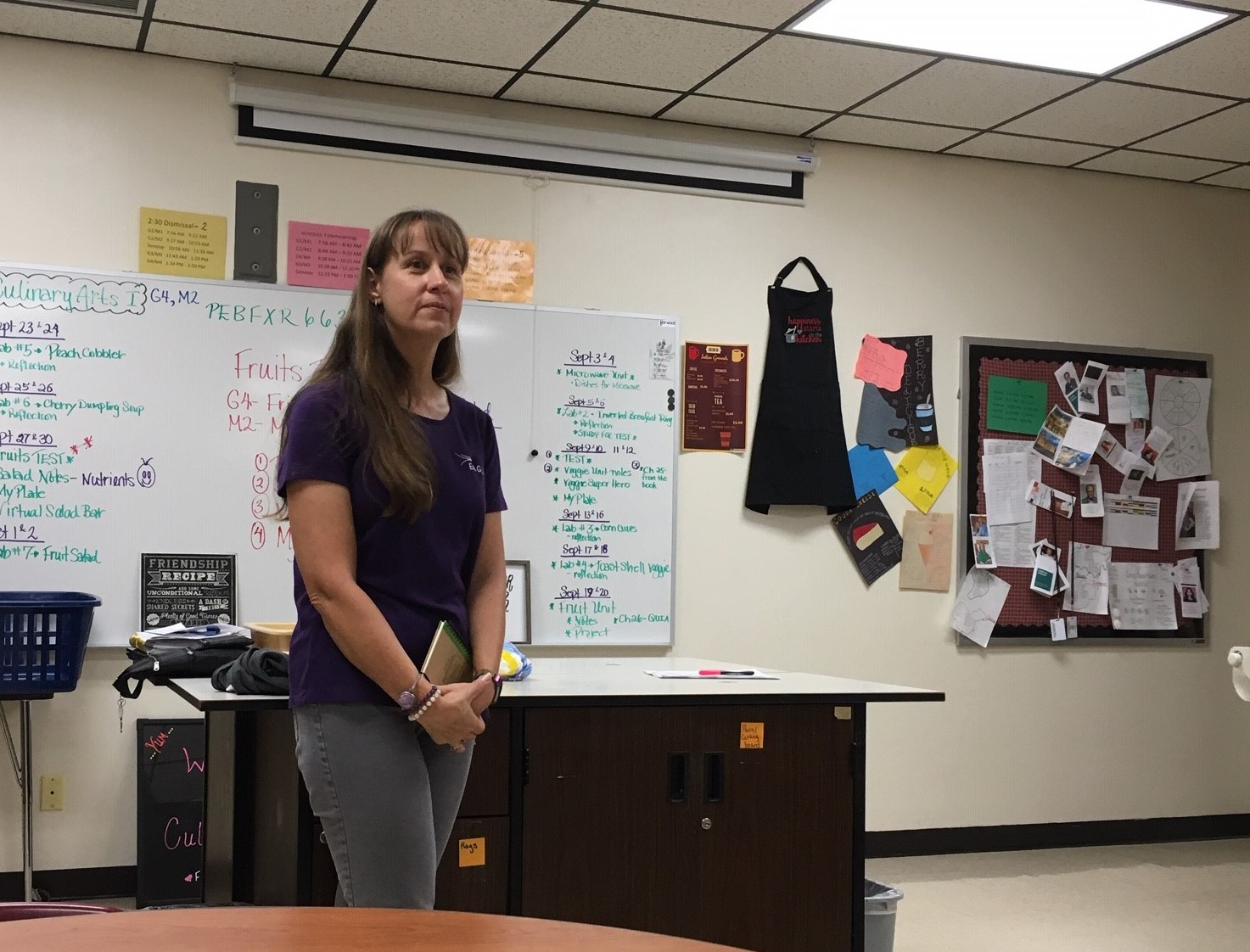Theresa Trapp speaks to students during PRIDE Time on Oct. 2. Trapp works in the radio broadcasting industry.