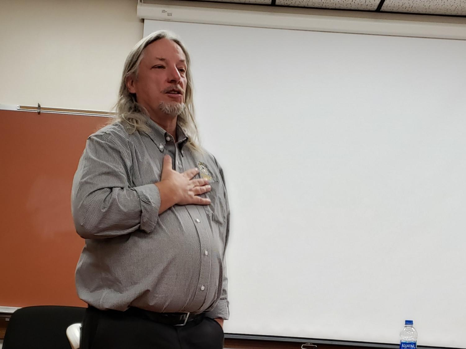 On Oct. 30, Career Speaker Robert Duffy speaks about Drug and Alcohol Counseling in Room 103 during PRIDE Time. Duffy was a Drug and Alcohol Wellness Network Coordinator at Fort Hays State University.