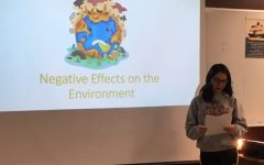Environmental Club President Kamryn Schoenberger presents to Environmental Club after school on Nov. 15