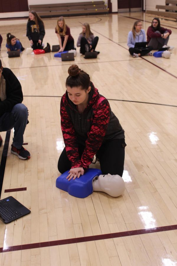In Health & Wellness class students also have the opportunity to practice important things such as Cardio-Pulmonary Resuscitation (CPR).