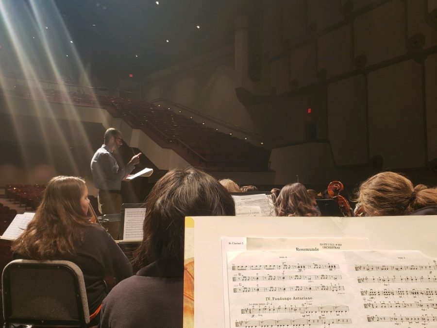 The+orchestra+spent+the+day+rehearsing+in+Beach%2FSchmidt+Performing+Arts+Center.+The+ensemble+was+led+by+Dr.+Thomas+Dickey+from+Oklahoma+State+University.