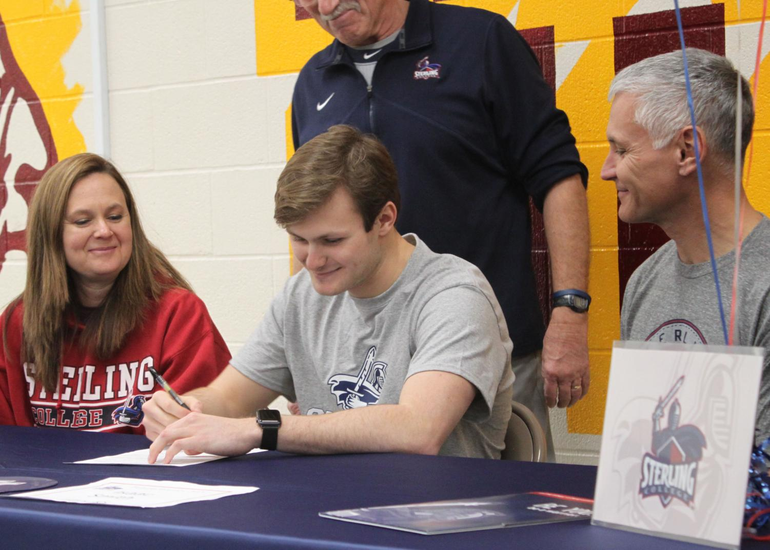 Senior Isaac Smith signed to Sterling College after hearing about it through a colleague, also there for swimming.