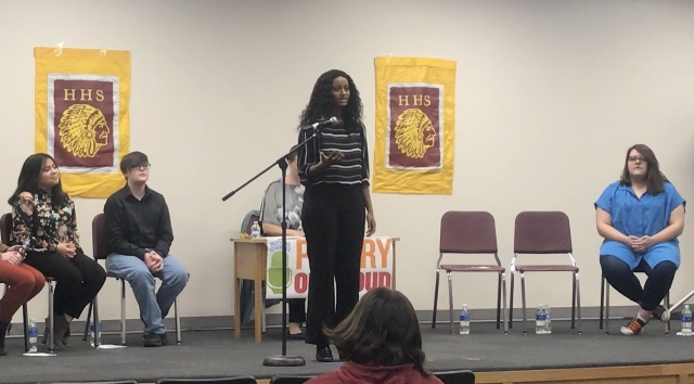 Senior Mulu Bannister places at school-wide Poetry Out Loud competition in her first year participating. Bannister will advance to Regionals on Feb. 8.